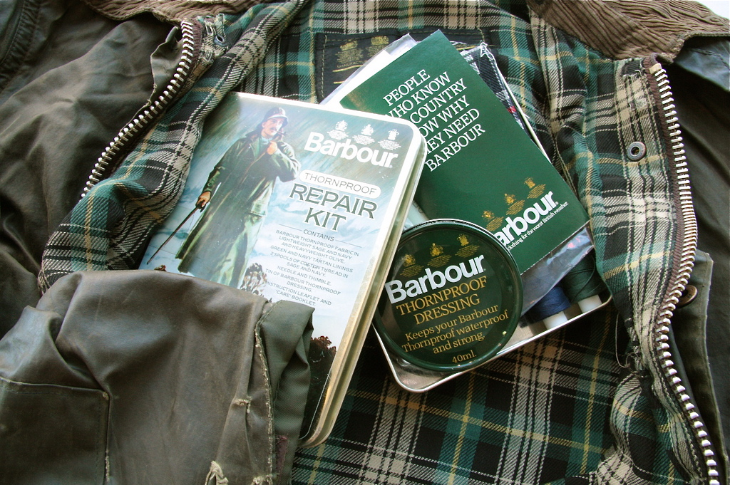 Old Barbour Jacket And Repair Kit Lark About